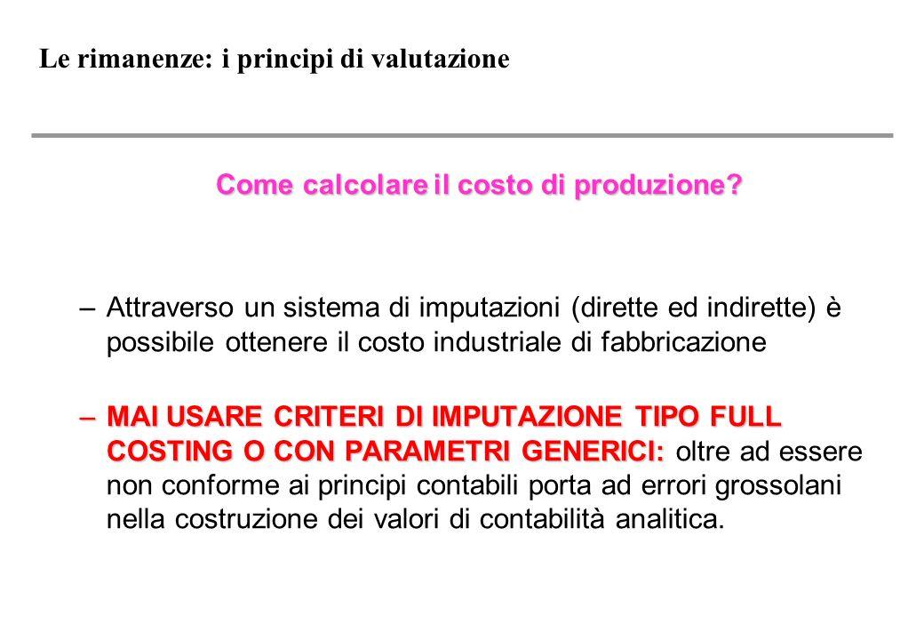 Le rimanenze: i principi di valutazione Come calcolare il costo di produzione.