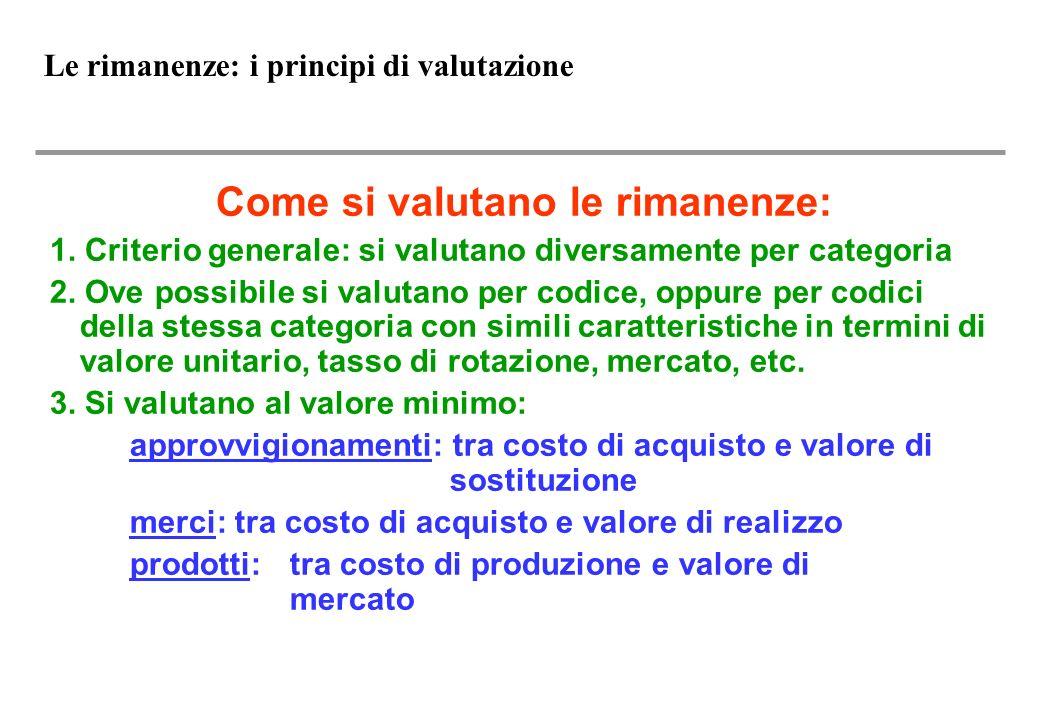 Le rimanenze: i principi di valutazione Come si valutano le rimanenze: 1.