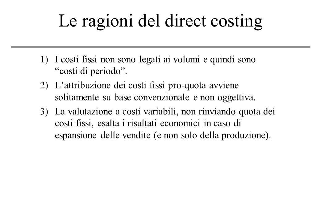 Le ragioni del direct costing 1)I costi fissi non sono legati ai volumi e quindi sono costi di periodo.