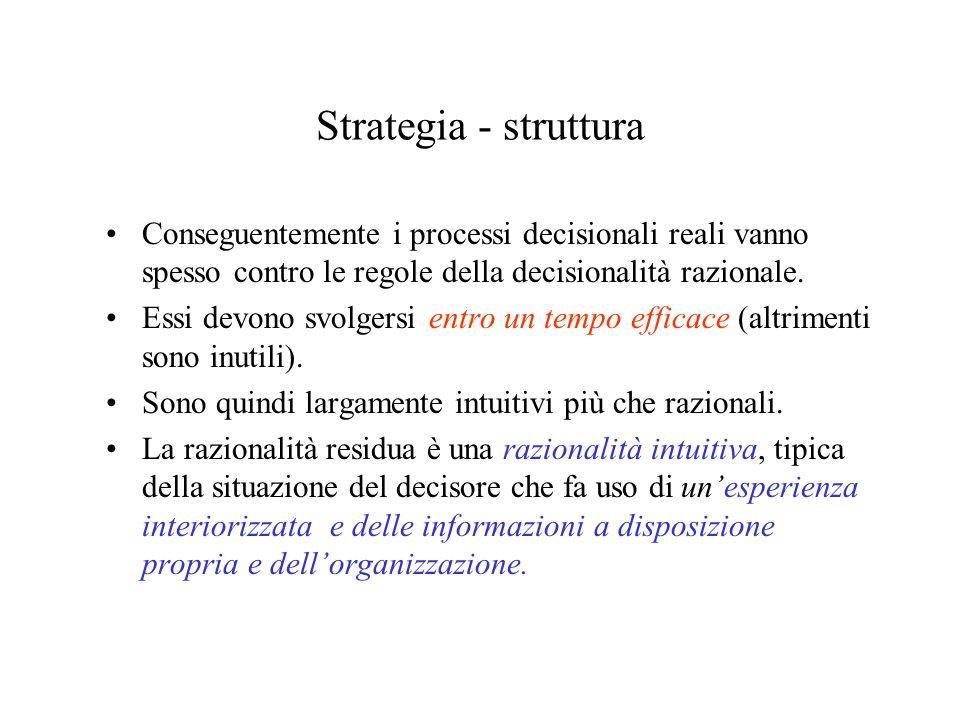 Strategia - struttura Conseguentemente i processi decisionali reali vanno spesso contro le regole della decisionalità razionale. Essi devono svolgersi