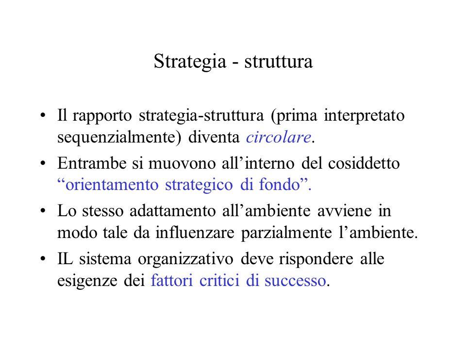 Strategia - struttura Il rapporto strategia-struttura (prima interpretato sequenzialmente) diventa circolare. Entrambe si muovono allinterno del cosid