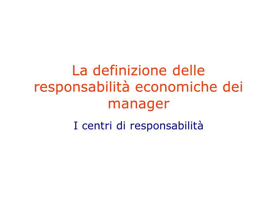 La definizione delle responsabilità economiche dei manager I centri di responsabilità