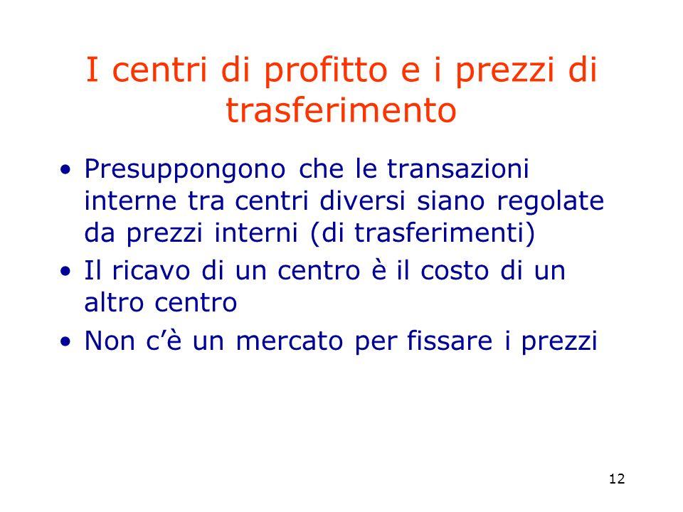 12 I centri di profitto e i prezzi di trasferimento Presuppongono che le transazioni interne tra centri diversi siano regolate da prezzi interni (di t