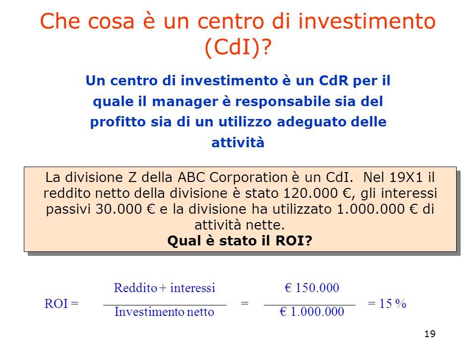 19 Un centro di investimento è un CdR per il quale il manager è responsabile sia del profitto sia di un utilizzo adeguato delle attività La divisione