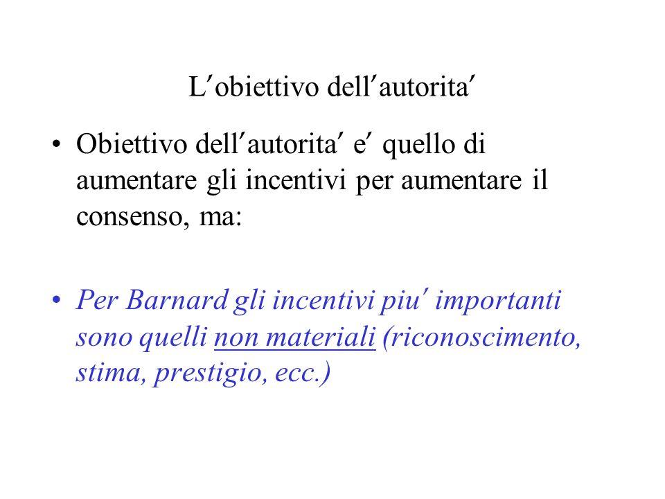 L obiettivo dell autorita Obiettivo dell autorita e quello di aumentare gli incentivi per aumentare il consenso, ma: Per Barnard gli incentivi piu imp