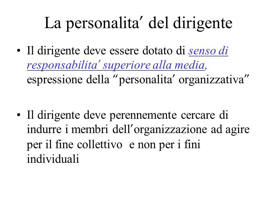 La personalita del dirigente Il dirigente deve essere dotato di senso di responsabilita superiore alla media, espressione della personalita organizzat