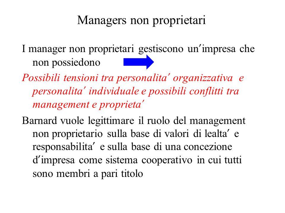 Managers non proprietari I manager non proprietari gestiscono un impresa che non possiedono Possibili tensioni tra personalita organizzativa e persona