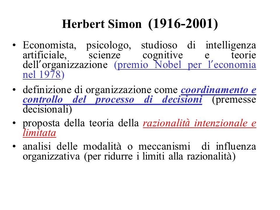 Herbert Simon (1916-2001) Economista, psicologo, studioso di intelligenza artificiale, scienze cognitive e teorie dell organizzazione (premio Nobel pe