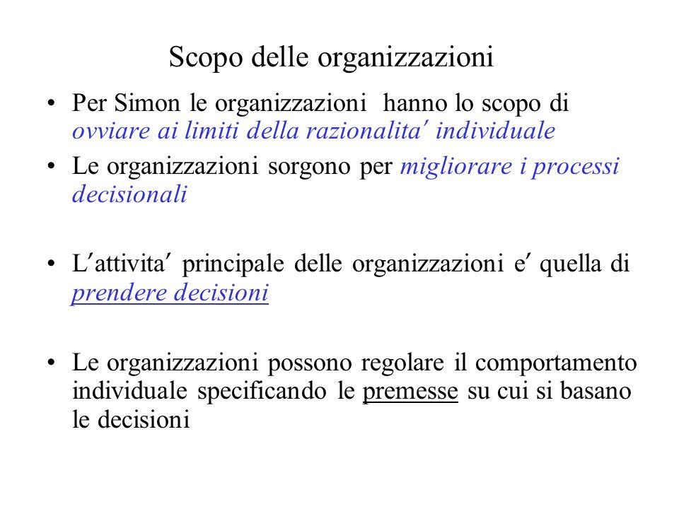 Scopo delle organizzazioni Per Simon le organizzazioni hanno lo scopo di ovviare ai limiti della razionalita individuale Le organizzazioni sorgono per