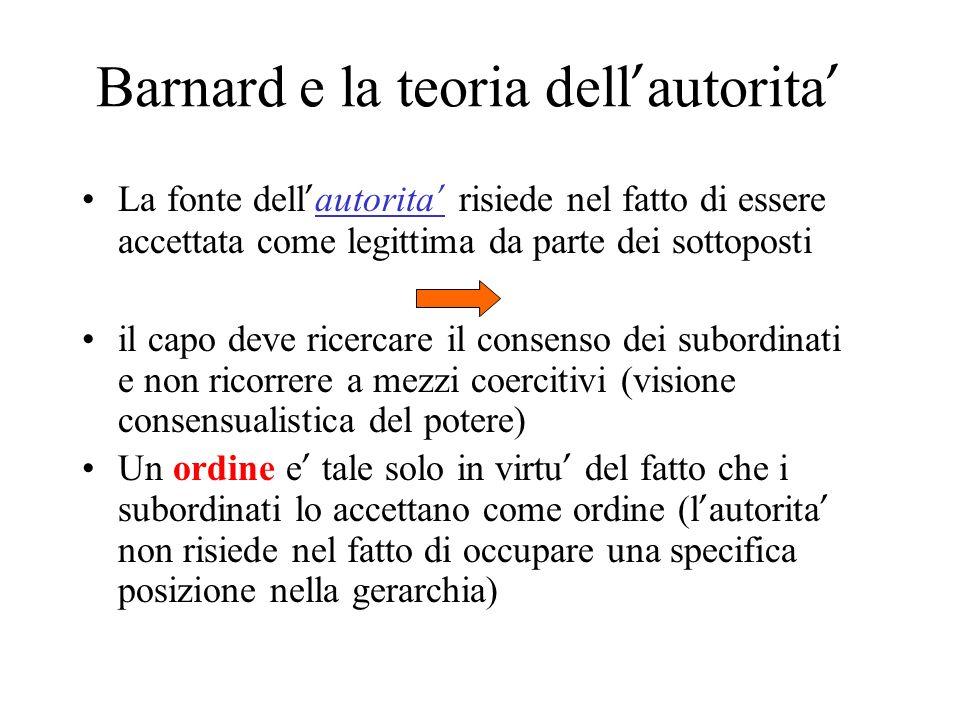 Barnard e la teoria dell autorita La fonte dell autorita risiede nel fatto di essere accettata come legittima da parte dei sottoposti il capo deve ric