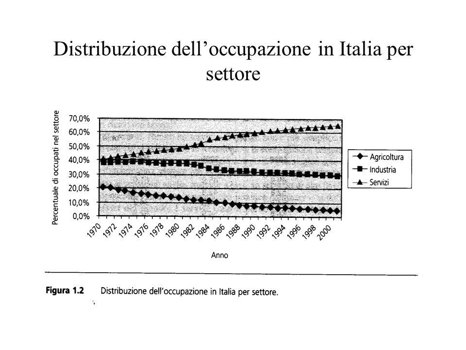 Distribuzione delloccupazione in Italia per settore