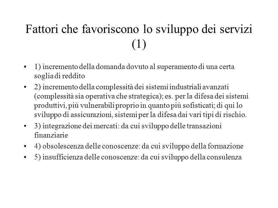 Fattori che favoriscono lo sviluppo dei servizi (1) 1) incremento della domanda dovuto al superamento di una certa soglia di reddito 2) incremento della complessità dei sistemi industriali avanzati (complessità sia operativa che strategica); es.