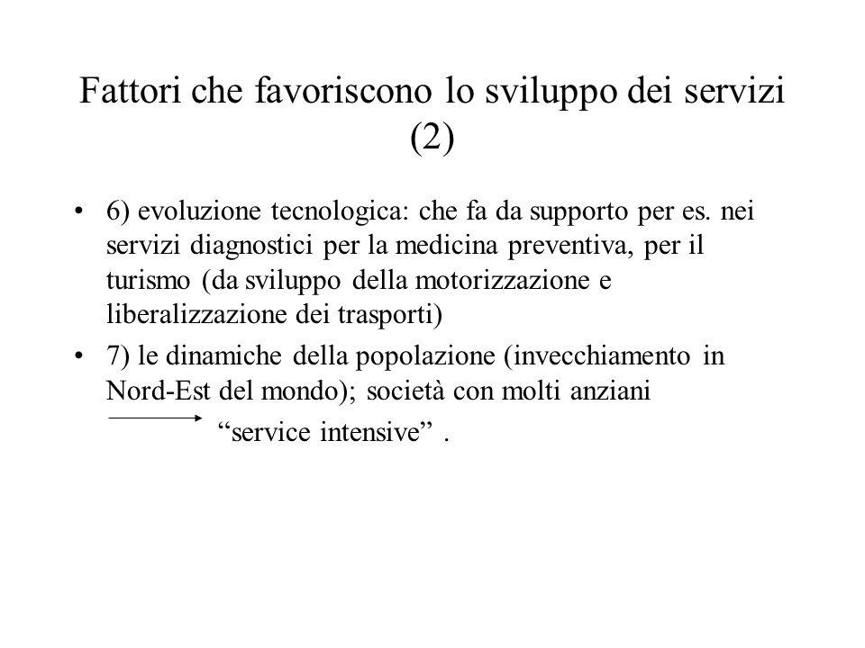 Fattori che favoriscono lo sviluppo dei servizi (2) 6) evoluzione tecnologica: che fa da supporto per es.