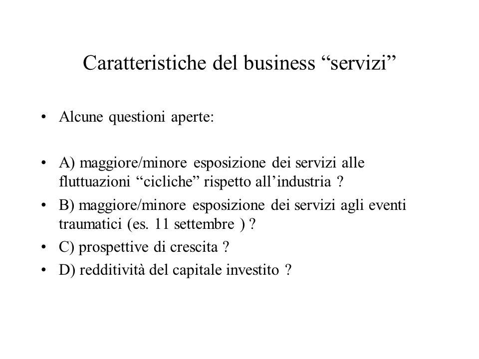Caratteristiche del business servizi Alcune questioni aperte: A) maggiore/minore esposizione dei servizi alle fluttuazioni cicliche rispetto allindustria .