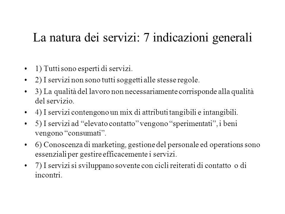 La natura dei servizi: 7 indicazioni generali 1) Tutti sono esperti di servizi.