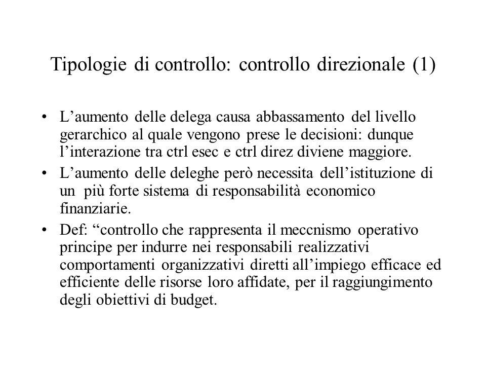 Tipologie di controllo: controllo direzionale (1) Laumento delle delega causa abbassamento del livello gerarchico al quale vengono prese le decisioni: dunque linterazione tra ctrl esec e ctrl direz diviene maggiore.