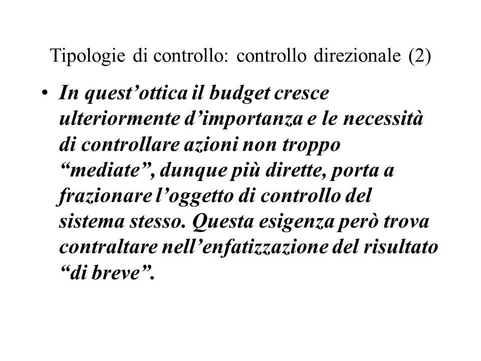 Tipologie di controllo: controllo direzionale (2) In questottica il budget cresce ulteriormente dimportanza e le necessità di controllare azioni non t