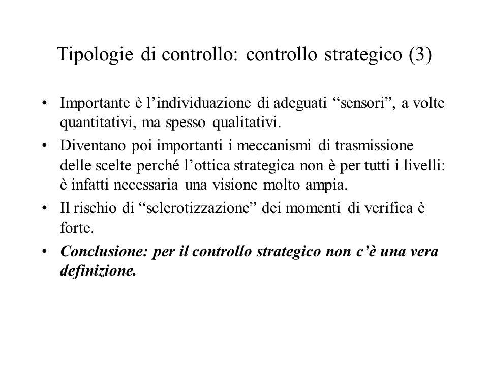 Tipologie di controllo: controllo strategico (3) Importante è lindividuazione di adeguati sensori, a volte quantitativi, ma spesso qualitativi.