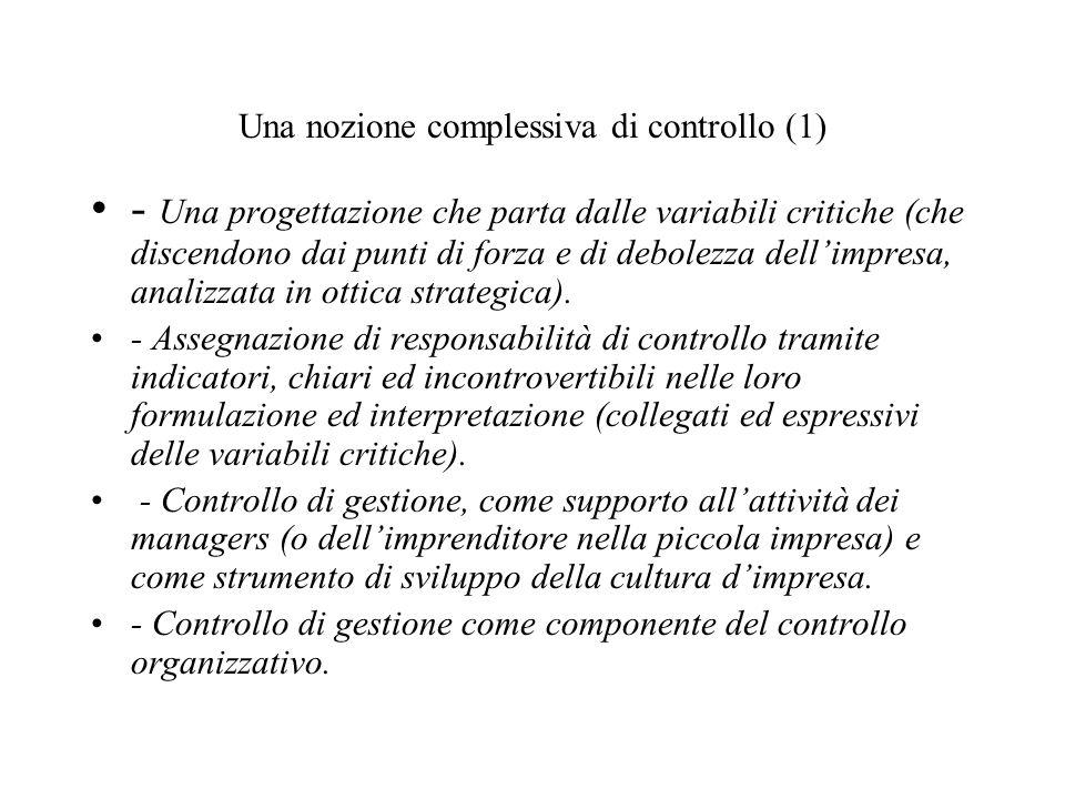 Una nozione complessiva di controllo (1) - Una progettazione che parta dalle variabili critiche (che discendono dai punti di forza e di debolezza dellimpresa, analizzata in ottica strategica).