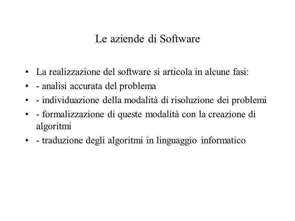Le aziende di Software La realizzazione del software si articola in alcune fasi: - analisi accurata del problema - individuazione della modalità di risoluzione dei problemi - formalizzazione di queste modalità con la creazione di algoritmi - traduzione degli algoritmi in linguaggio informatico