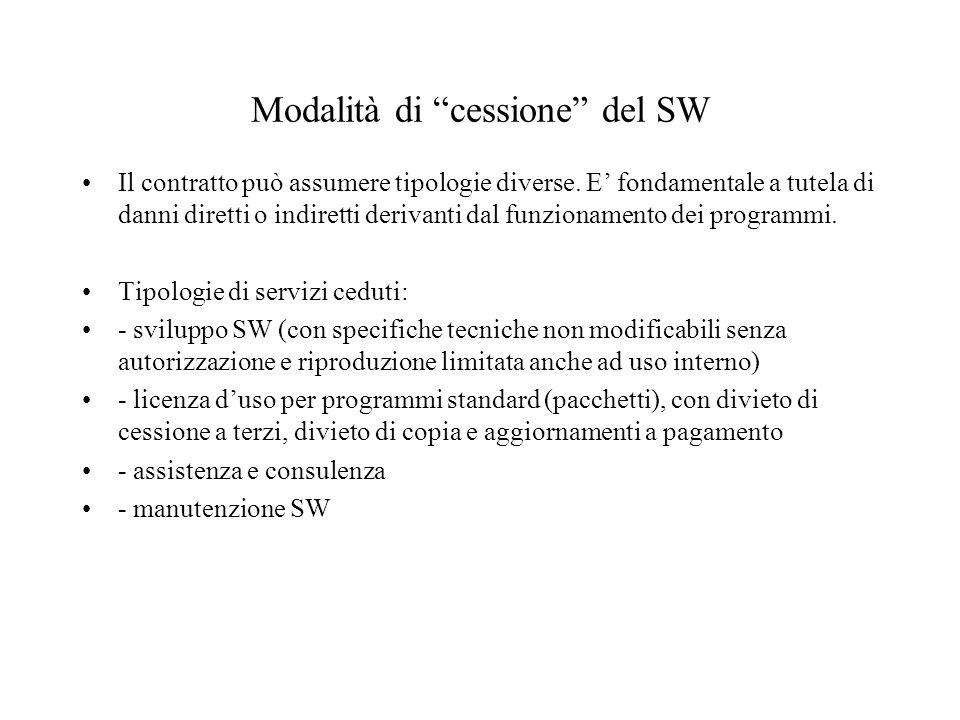 Modalità di cessione del SW Il contratto può assumere tipologie diverse. E fondamentale a tutela di danni diretti o indiretti derivanti dal funzioname