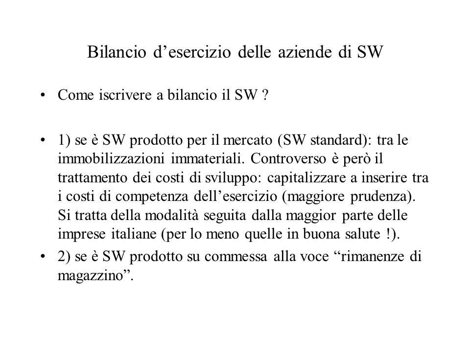 Bilancio desercizio delle aziende di SW Come iscrivere a bilancio il SW ? 1) se è SW prodotto per il mercato (SW standard): tra le immobilizzazioni im
