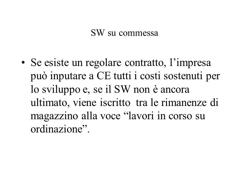 SW su commessa Se esiste un regolare contratto, limpresa può inputare a CE tutti i costi sostenuti per lo sviluppo e, se il SW non è ancora ultimato, viene iscritto tra le rimanenze di magazzino alla voce lavori in corso su ordinazione.