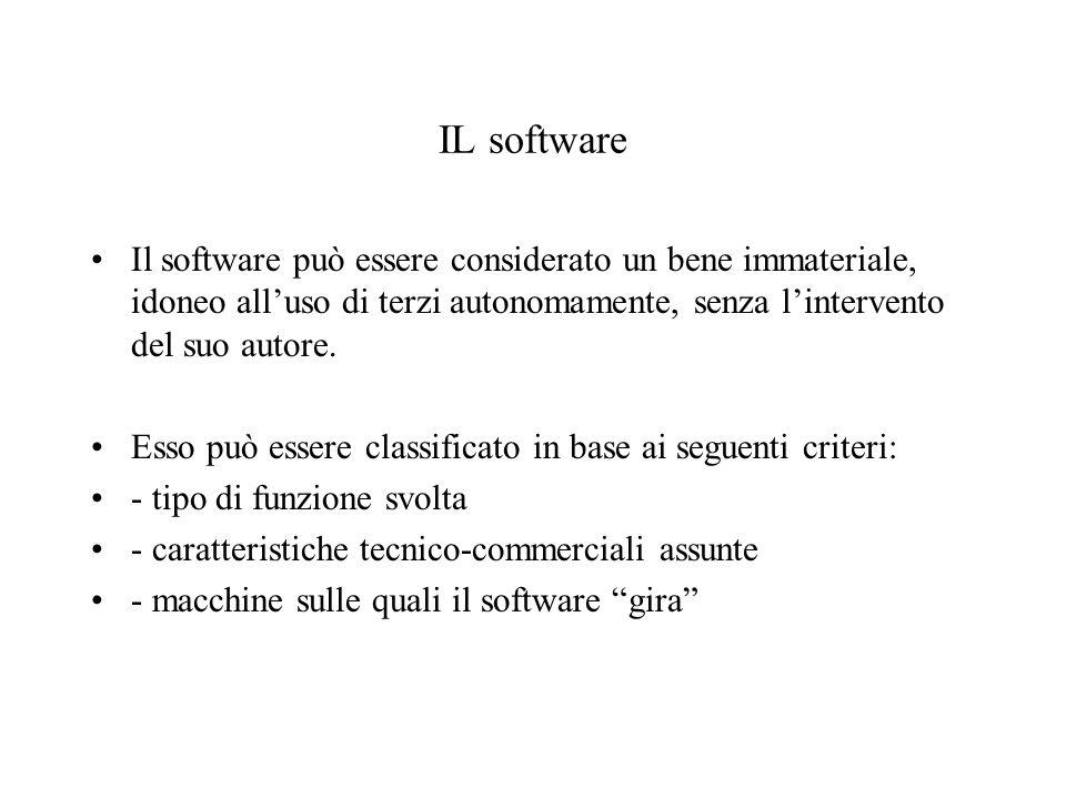 IL software Il software può essere considerato un bene immateriale, idoneo alluso di terzi autonomamente, senza lintervento del suo autore. Esso può e