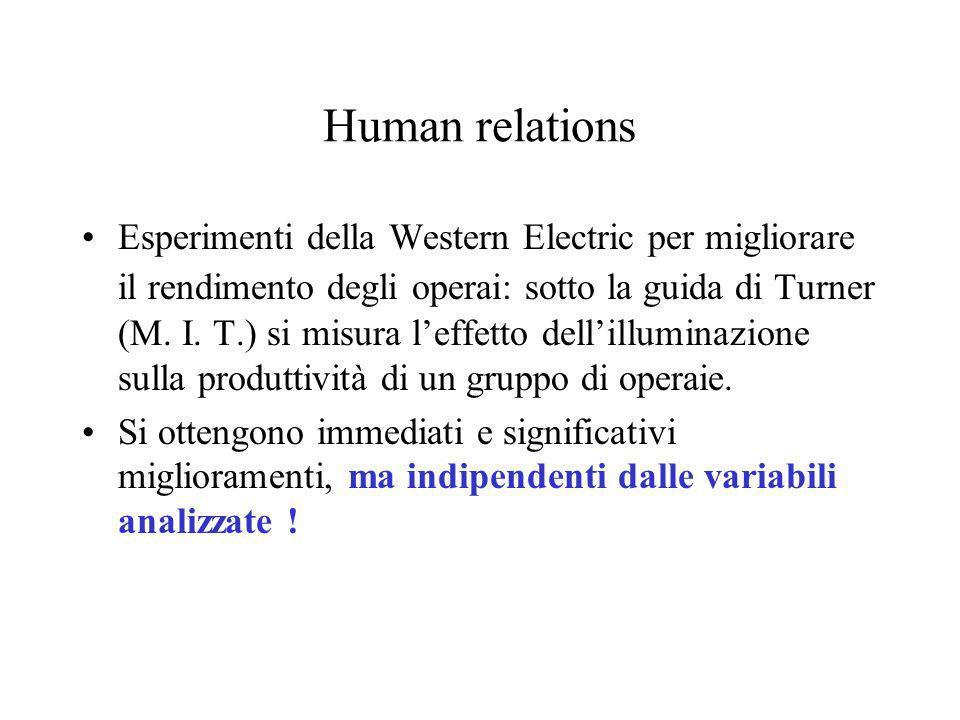 Human relations Esperimenti della Western Electric per migliorare il rendimento degli operai: sotto la guida di Turner (M. I. T.) si misura leffetto d