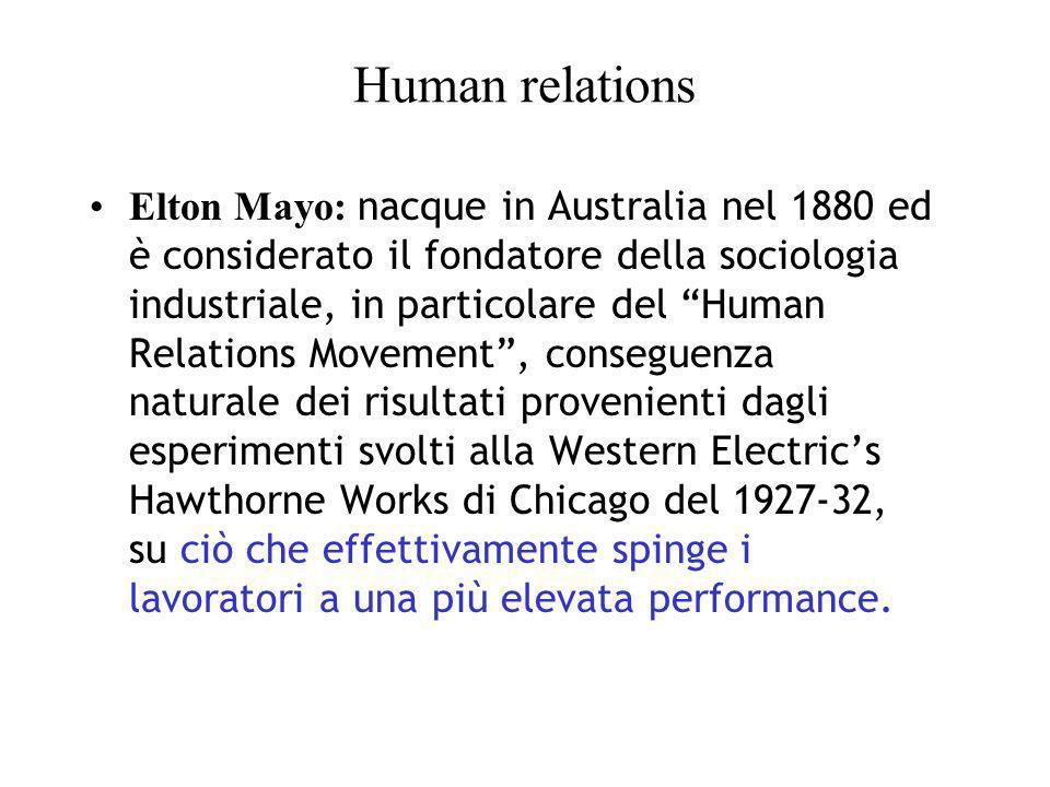 Human relations Elton Mayo: nacque in Australia nel 1880 ed è considerato il fondatore della sociologia industriale, in particolare del Human Relation