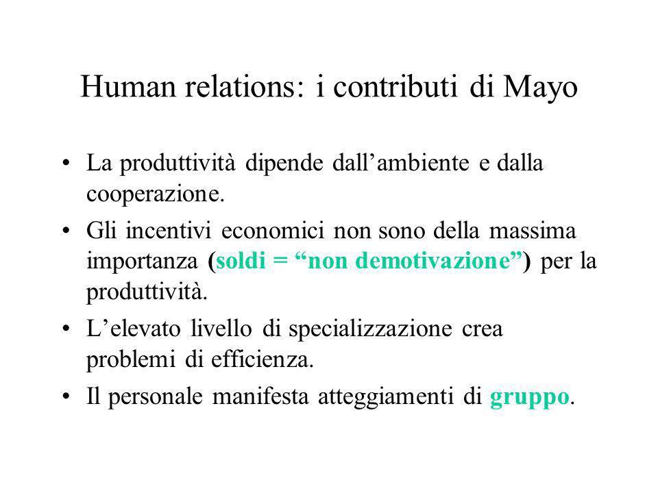 Human relations: i contributi di Mayo La produttività dipende dallambiente e dalla cooperazione. Gli incentivi economici non sono della massima import