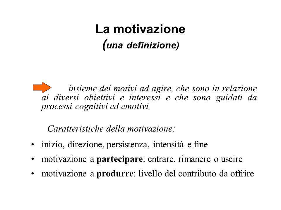 La motivazione ( una definizione) insieme dei motivi ad agire, che sono in relazione ai diversi obiettivi e interessi e che sono guidati da processi c