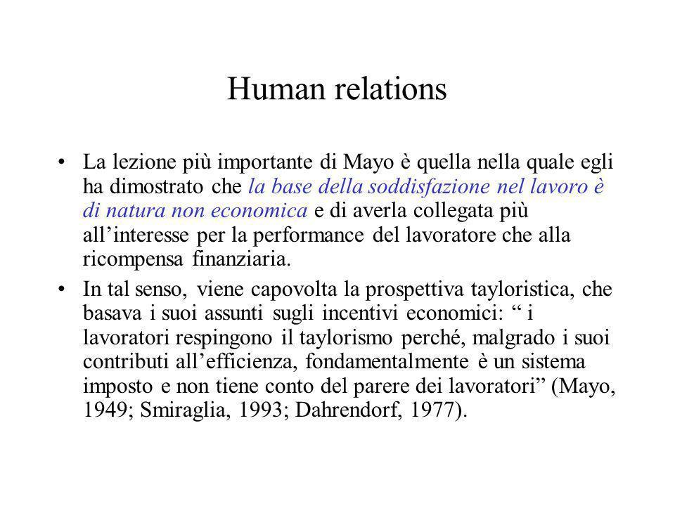 Human relations La lezione più importante di Mayo è quella nella quale egli ha dimostrato che la base della soddisfazione nel lavoro è di natura non e