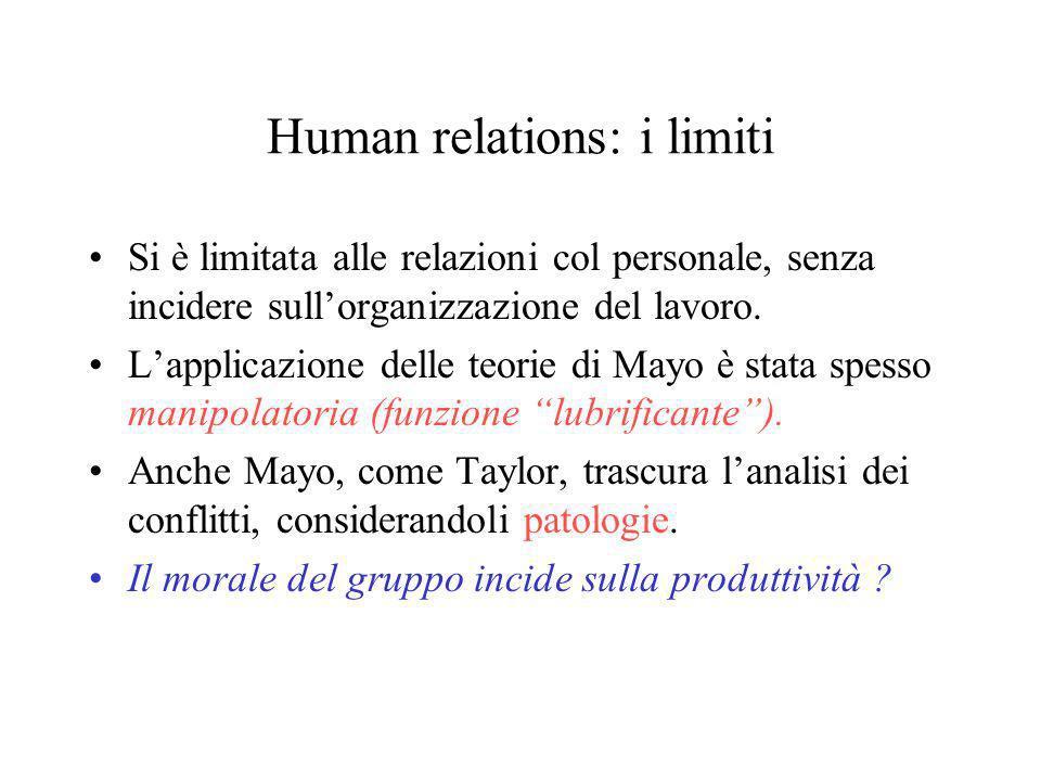 Human relations: i limiti Si è limitata alle relazioni col personale, senza incidere sullorganizzazione del lavoro. Lapplicazione delle teorie di Mayo