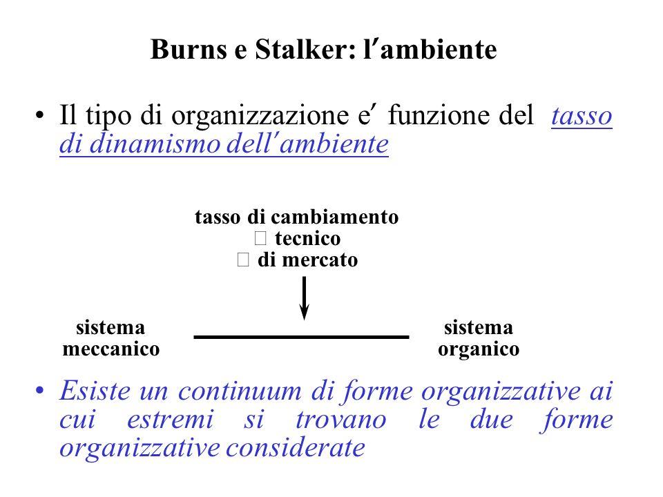 Burns e Stalker: l ambiente Il tipo di organizzazione e funzione del tasso di dinamismo dell ambiente Esiste un continuum di forme organizzative ai cu