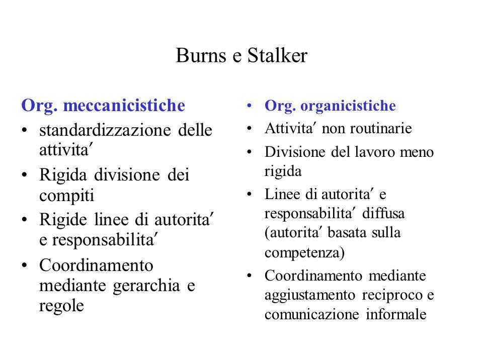Burns e Stalker Org. meccanicistiche standardizzazione delle attivita Rigida divisione dei compiti Rigide linee di autorita e responsabilita Coordinam