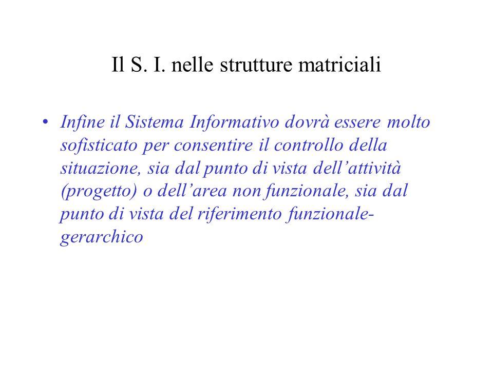 Il S. I. nelle strutture matriciali Infine il Sistema Informativo dovrà essere molto sofisticato per consentire il controllo della situazione, sia dal