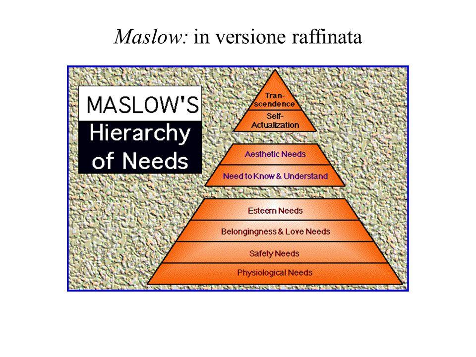 Maslow La gerarchia dei bisogni: le regole di funzionamento - un bisogno non diviene motivante finché non sono soddisfatti, anche se non completamente, i bisogni di ordine inferiore - un bisogno soddisfatto cessa di essere motivante - il comportamento è determinato da più bisogni - la gerarchia può non essere universale