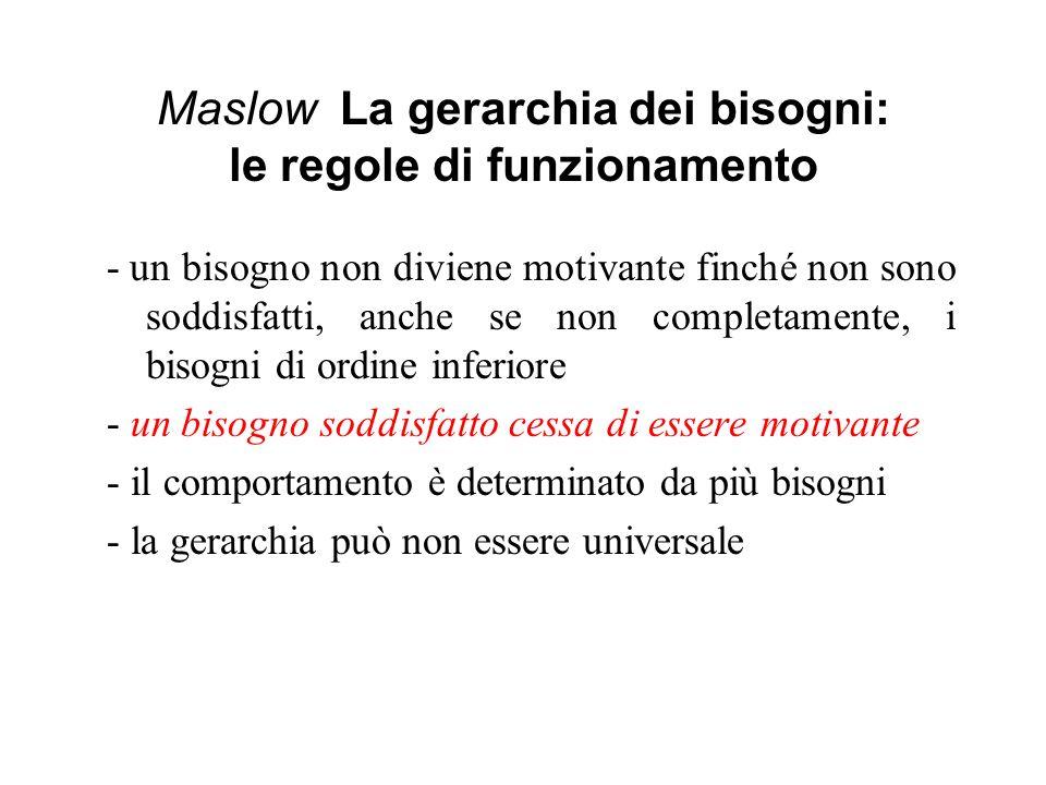 Maslow La gerarchia dei bisogni: le regole di funzionamento - un bisogno non diviene motivante finché non sono soddisfatti, anche se non completamente