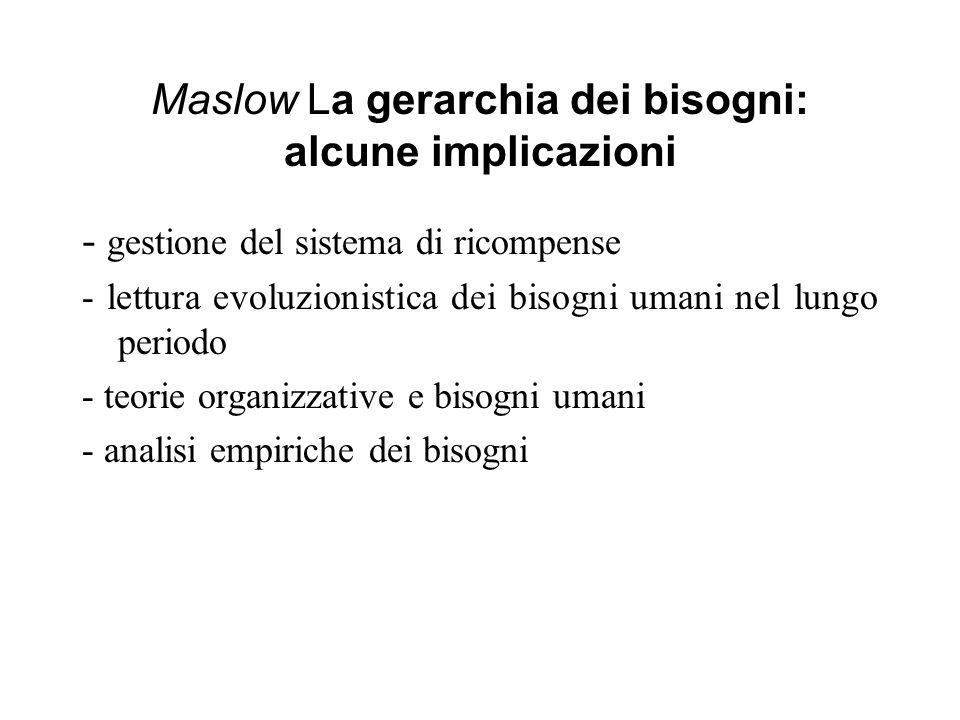 Maslow: Le critiche - fissazione a un certo livello in presenza di frustrazione -articolazione dei bisogni (distinguibilità e quindi gerarchizzazione) -La rigida sequenzialità implicita nella teoria (Maslow, dopo il 1968, la rivede parzialmente)