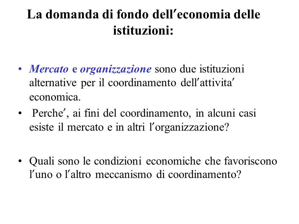 La domanda di fondo dell economia delle istituzioni: Mercato e organizzazione sono due istituzioni alternative per il coordinamento dell attivita econ