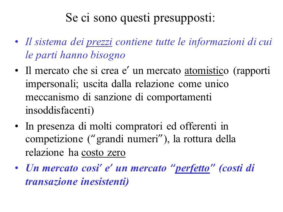 Se ci sono questi presupposti: Il sistema dei prezzi contiene tutte le informazioni di cui le parti hanno bisogno Il mercato che si crea e un mercato