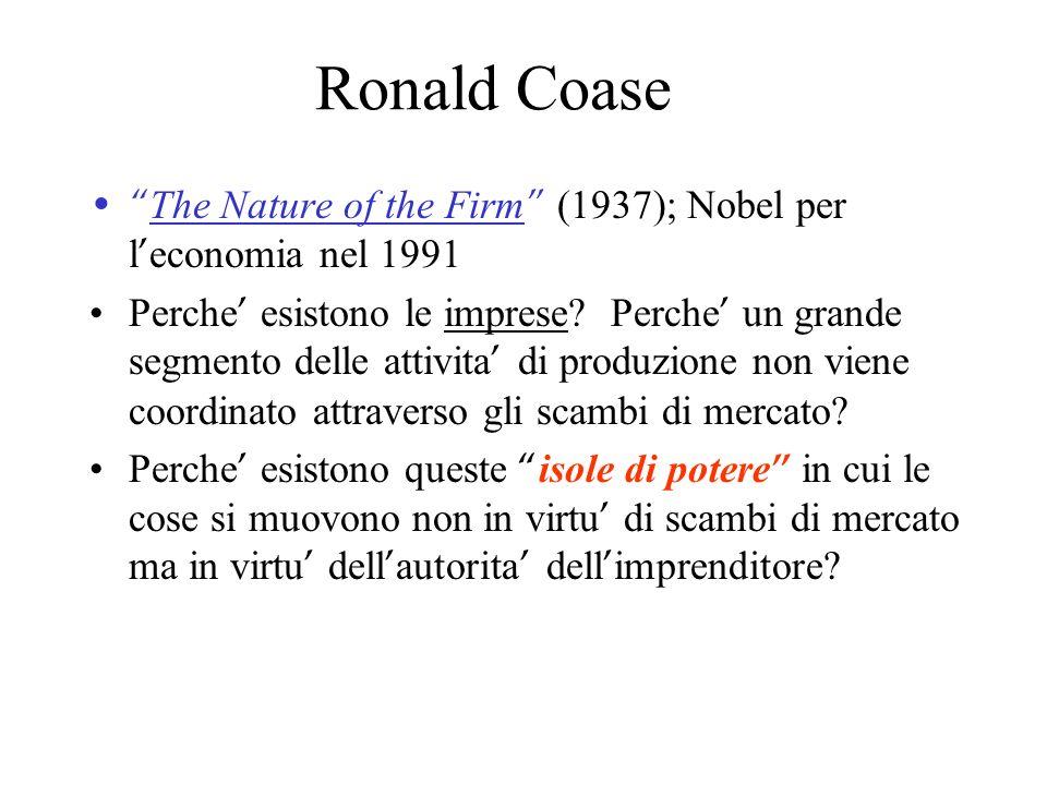 Ronald Coase The Nature of the Firm (1937); Nobel per l economia nel 1991 Perche esistono le imprese? Perche un grande segmento delle attivita di prod