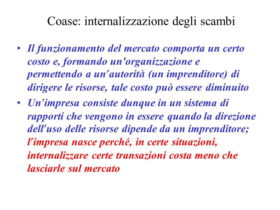 Coase: internalizzazione degli scambi Il funzionamento del mercato comporta un certo costo e, formando un'organizzazione e permettendo a un autorit à