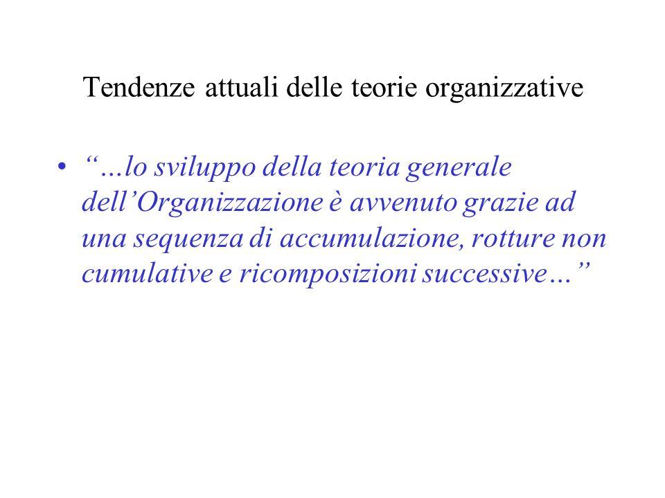 Tendenze attuali delle teorie organizzative …lo sviluppo della teoria generale dellOrganizzazione è avvenuto grazie ad una sequenza di accumulazione,