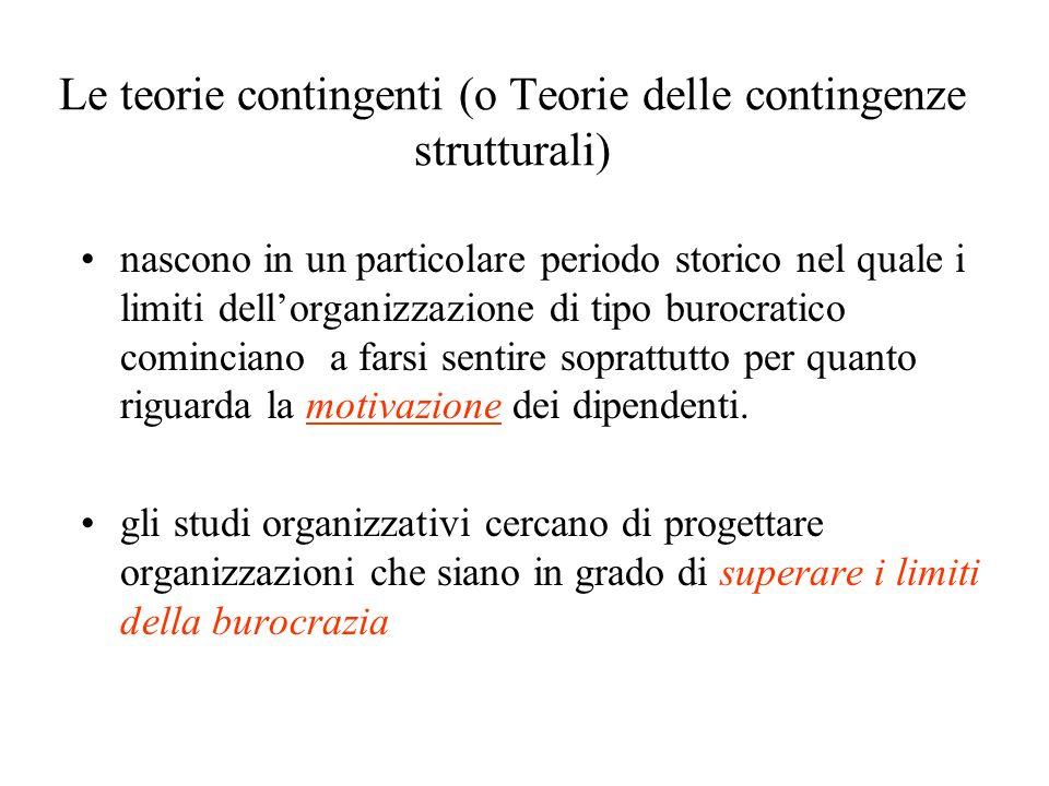 Le teorie contingenti (o Teorie delle contingenze strutturali) nascono in un particolare periodo storico nel quale i limiti dellorganizzazione di tipo