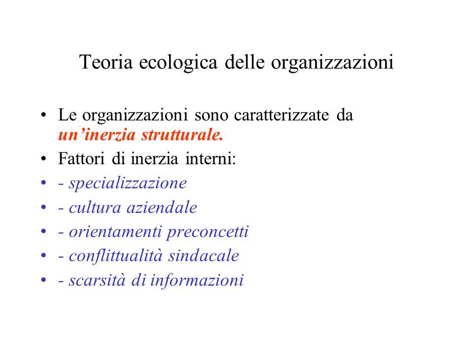 Teoria ecologica delle organizzazioni Le organizzazioni sono caratterizzate da uninerzia strutturale. Fattori di inerzia interni: - specializzazione -