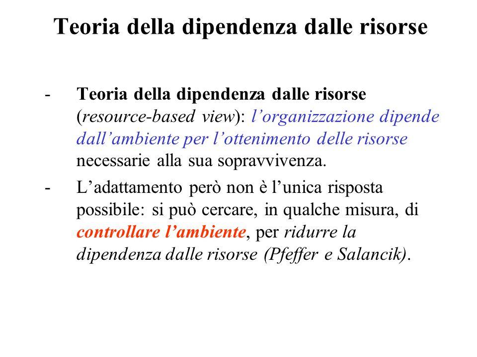Teoria della dipendenza dalle risorse -Teoria della dipendenza dalle risorse (resource-based view): lorganizzazione dipende dallambiente per lottenimento delle risorse necessarie alla sua sopravvivenza.