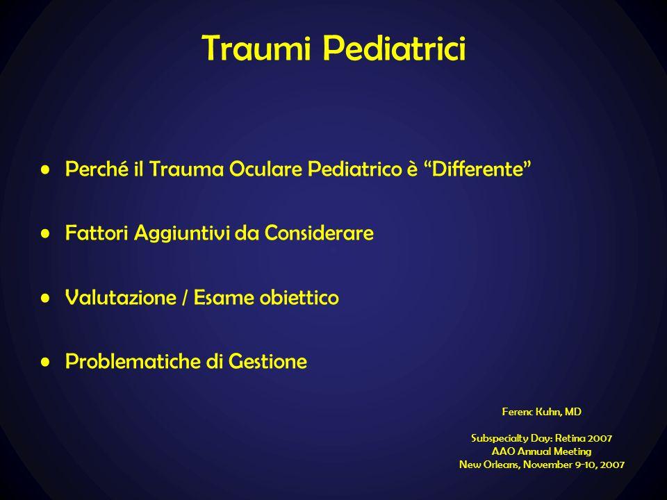 Traumi Pediatrici Perché il Trauma Oculare Pediatrico è Differente Fattori Aggiuntivi da Considerare Valutazione / Esame obiettico Problematiche di Ge