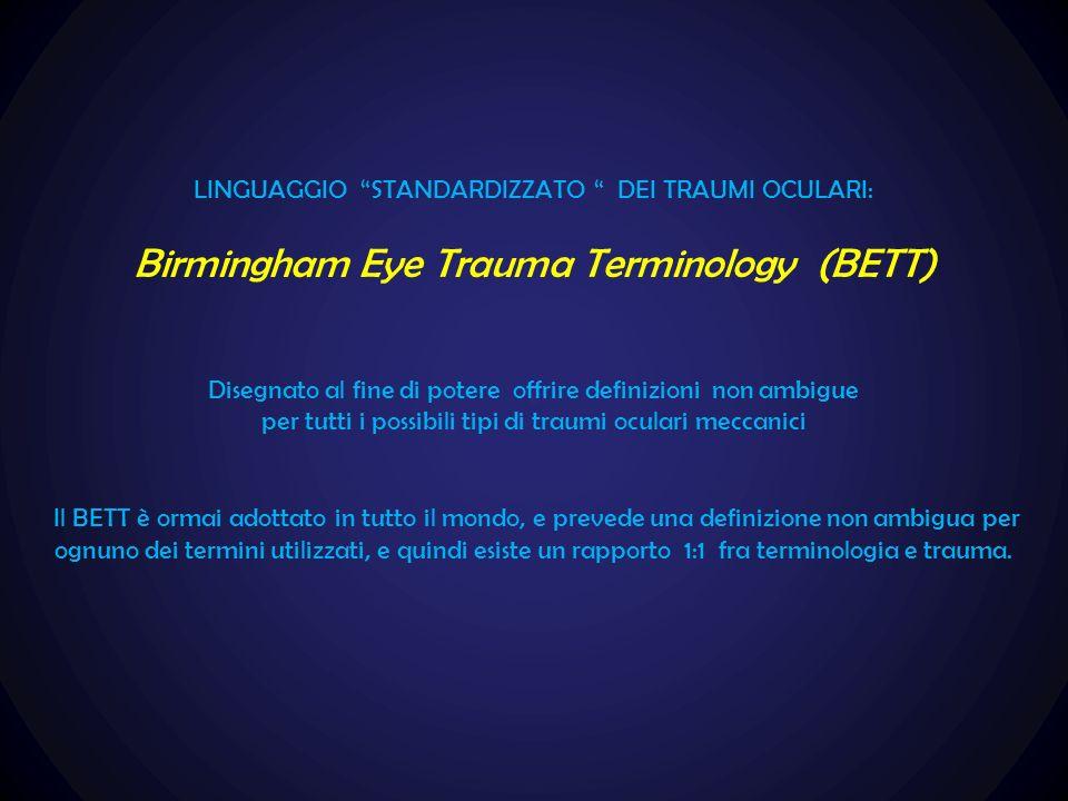LINGUAGGIO STANDARDIZZATO DEI TRAUMI OCULARI: Birmingham Eye Trauma Terminology (BETT) Disegnato al fine di potere offrire definizioni non ambigue per